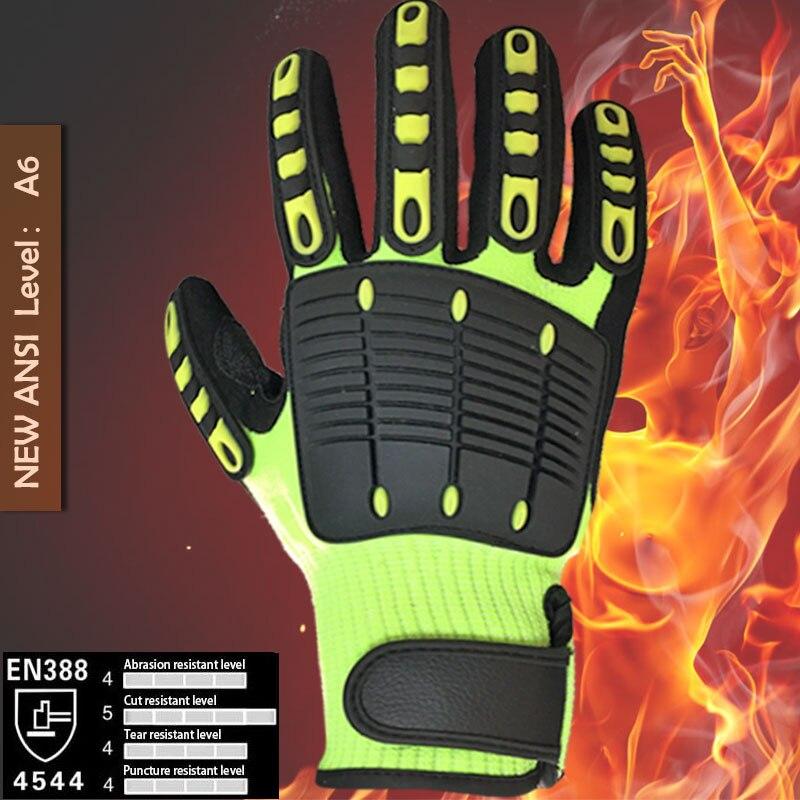NMSafety Anti <font><b>Vibration</b></font> Oil Safety Glove Shock Absorbing <font><b>Mechanics</b></font> Impact Resistant Work Glove