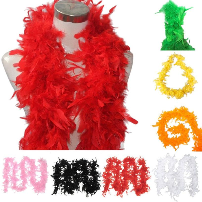 Ladies 180cm 1920s Flapper Black Red White Pink Feather Boa Scarf Costume Outfit