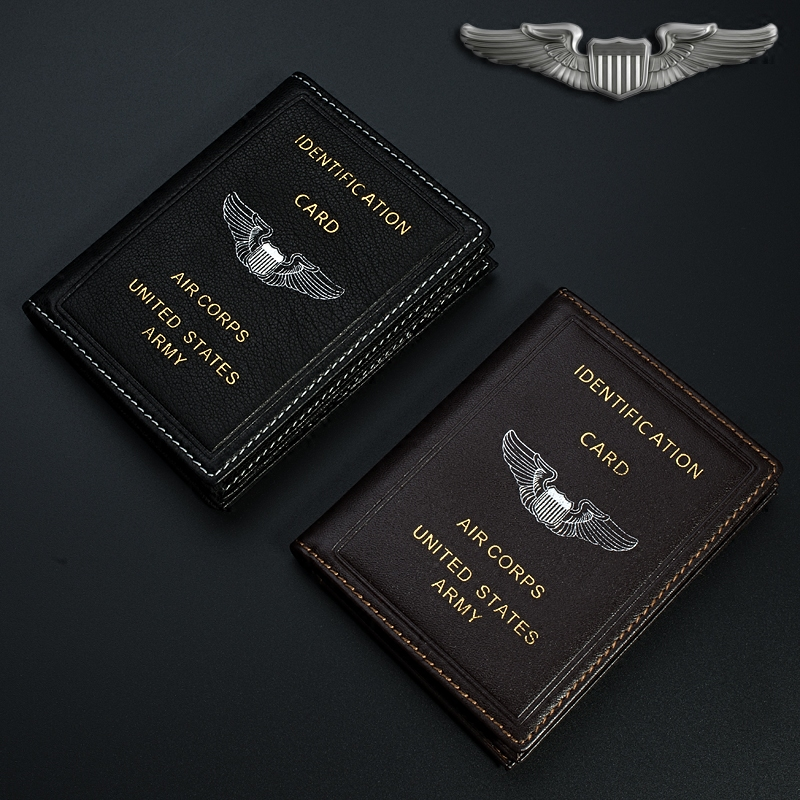 Vintage US Army Air Corps ID Card Holder Genuine Leather,  Folder Case Best Gift for Pilot Aviation Lover Collection  Кошелёк