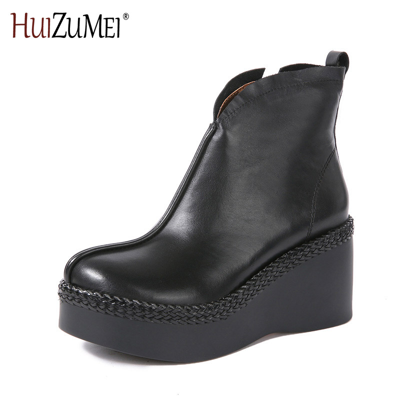 HUIZUMEI shoes woman 2017 autumn and winter new handmade leather boots leather casual national wind boots flat round head retro 2017 new autumn winter british retro men shoes zipper leather breathable sneaker fashion boots men casual shoes handmade