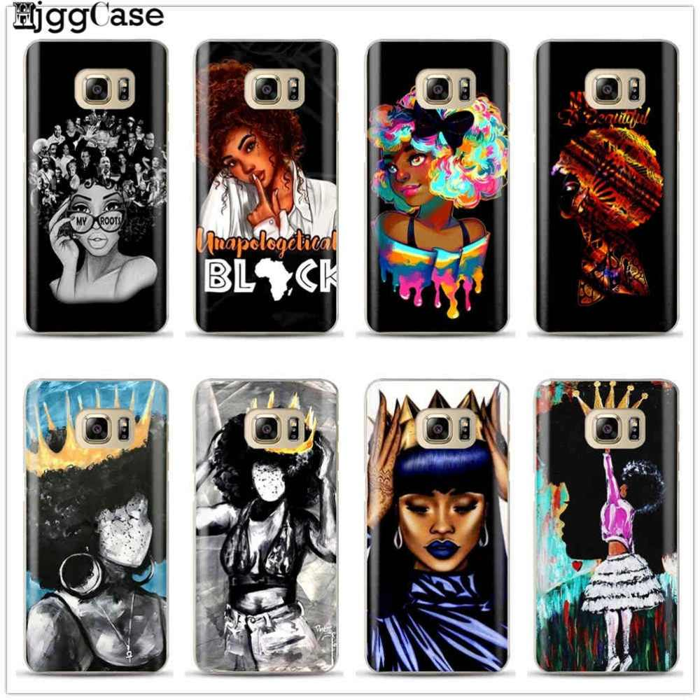Black Girl Magic Melanin Poppin Queen Case For Samsung Galaxy S6 S7 Edge S8 S9 Plus J3 J5 J7 A5 A7 2017 Note 8 A6 A8 Plus 2018