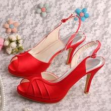 Wedopus Slingbackรองเท้าสีแดงส้นรองเท้าปั๊มP Eep Toeแต่งงานD Ropshipping