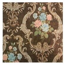 Sofá cortina estadounidense de Chenille suave de viscosa y poliéster grueso con flores marrones Vintage, tela para sillón y sillón de 280 CM, venta por metro
