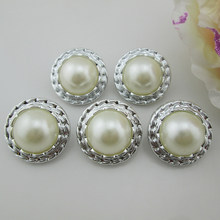 (PB65 22mm)20pcs Shiny Ivory Pearl Resin Button Plastic Buttons Silver Tone For Craft(China)
