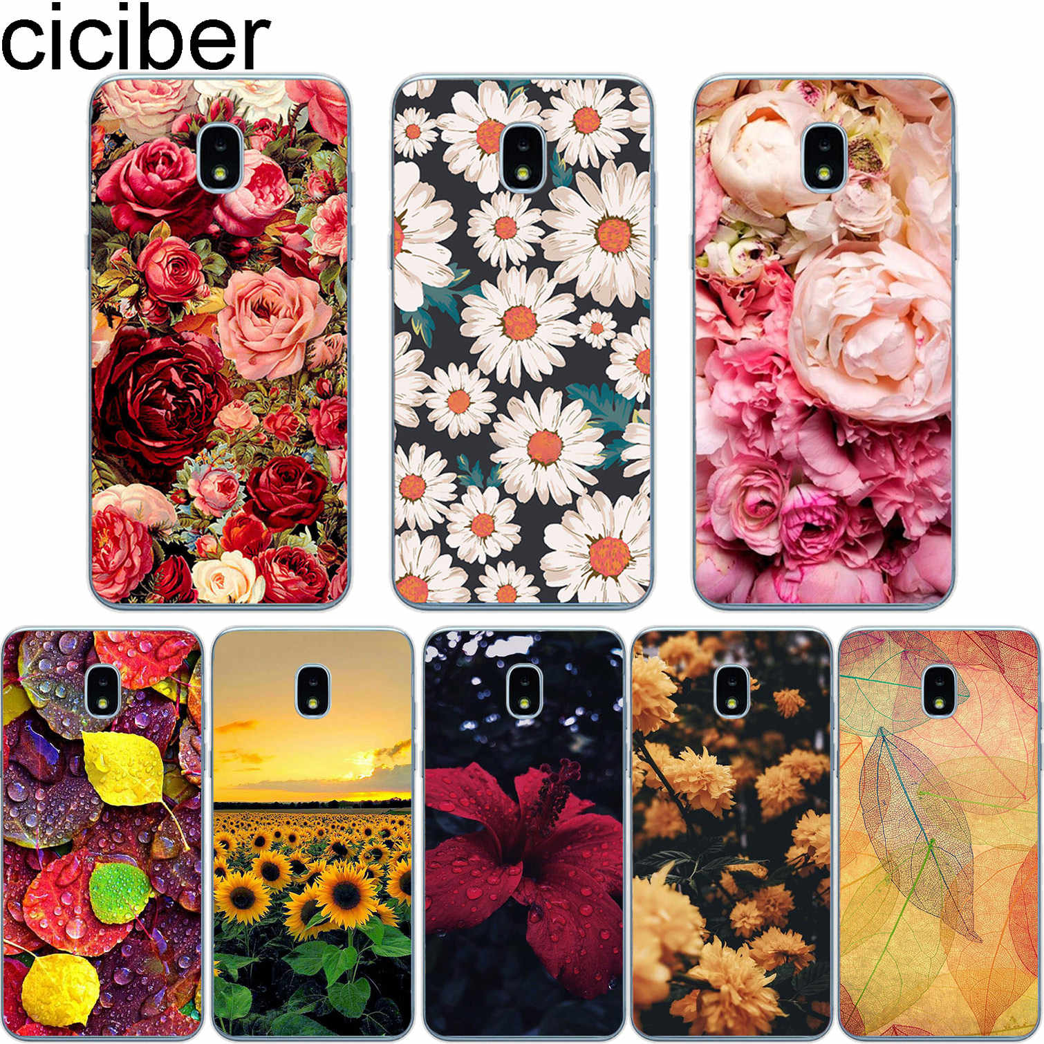 ciciber for Samsung Galaxy J6 J5 J7 J8 J1 J2 J3 J4 Pro Plus Core Prime mini 2017 2018 2016 Soft TPU Phone Cases Coque Flower