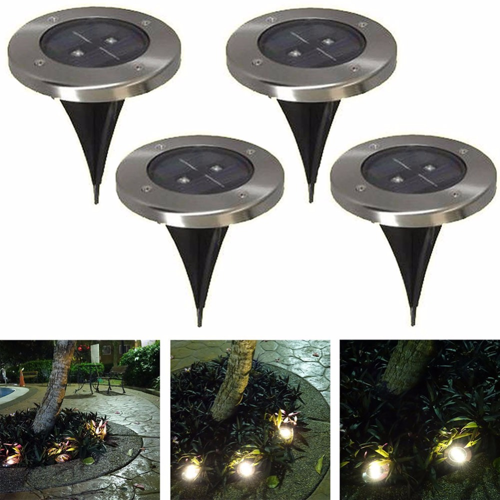 5PCS Garden 2 LED White Yellow Solar Powered Ground Light Outdoor Patio  Lawn Waterproof Porch Walkway