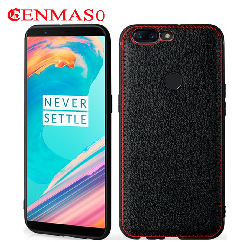 Genuine leather case for oneplus 5T cover soft TPU capa for oneplus 5 T back case one plus 5t luxury fashion back capa cases