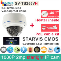 IMX291 Full HD 1080P IP Camera 2mp Outdoor Security Cctv Dome Camera Built In Heater With