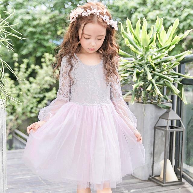 90ccd1c69 Princesa vestido niña ropa rosa de encaje vestido de manga larga de los niños  vestidos de