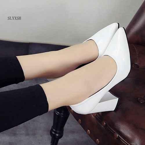 SLYXSH 2018 New nhãn hiệu phụ nữ bơm gót thấp giày phụ nữ phụ nữ đảng wedding dress nhọn trượt trên toe giày kích thước 35-39