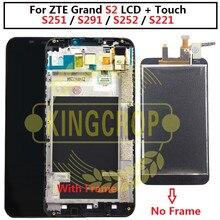 100% 전체 LCD DIsplay + 터치 스크린 디지타이저 어셈블리 ZTE 그랜드 S2 S 2 II S251 S291 S252 S221 lcd 프레임 무료 배송