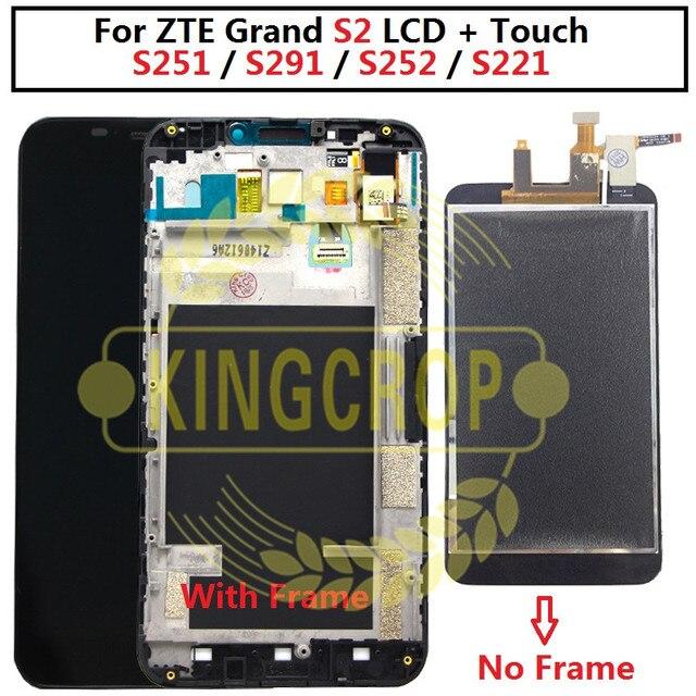 100% Полный ЖК дисплей дисплей + кодирующий преобразователь сенсорного экрана в сборе для мобильного телефона ZTE Grand S2 S 2 II S251 S291 S252 S221 ЖК дисплей с рамкой Бесплатная доставка