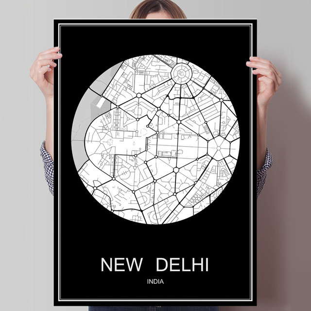 New delhi india abstract world city map print poster print on paper or canvas wall sticker