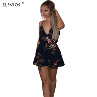 ELSVIOS 2018 Sexy Backless Floral Printed Jumpsuit Sexy Spaghetti Strap Rompers Wome Overalls Female Casual Beach