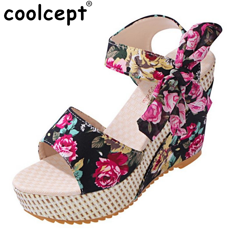 Fashion wedges sandals female shoes women platform shoes lace belt bow Flip Flops open toe high-heeled shoes Size 35-39 PA00230 biaoka automatical mechanical watches men luxury brand male clock leather wristwatch men skeleton casual business gold watch