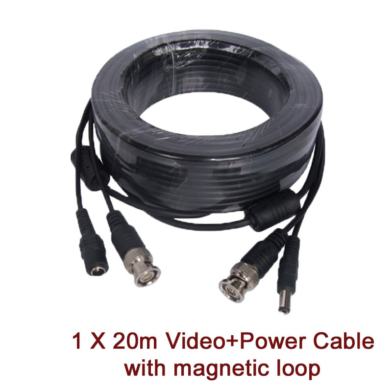 20m CCTV Cable Video & Power BNC + DC plug cable for CCTV Camera and DVRs black color coaxial Cable Freeshipping  50pcs 2 pole bnc dc male plug for color monitor video cctv power plug terminals