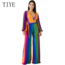 TIYE Multi Color Printed Fashion Women Streetwear Jumpsuit Sexy Deep V Neck Belted Wide Legs Pants Bodysuit Full-length Overalls