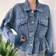 New Denim Jacket Women Ins Retro Loose Drawstring Waist Jeans Jackets Female Personality Big Pocket Coat Spring Autumn недорого