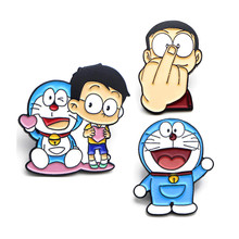 DMLSKY Doraemon Cute Pins Funny Nobita Nobi Punk Enamel and Brooches Lapel Pin Backpack Bags Badges Jewelry Gifts M3521