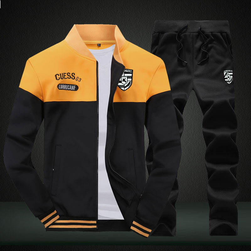2019 New Men Sets Fashion Sporting Suit Brand Patchwork Zipper Sweatshirt +Sweatpants Mens Clothing 2 Pieces Sets Slim Tracksuit 2