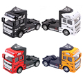 Happy Cherry 1 Set 4 Colors 1:50 Scale Diecast Container Truck Trailer Puller Vehicle Car Model Toys for Kids Children