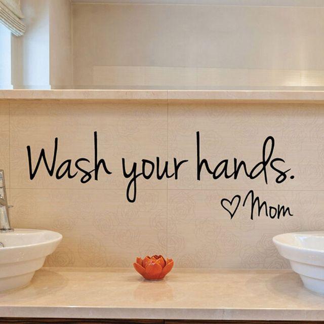 US $1.29 6% OFF|Badezimmer wandaufkleber Waschen Sie Ihre Hände Liebe Mama  Wasserdichte Art Vinyl aufkleber bad wand dekor 1 Stück in Badezimmer ...