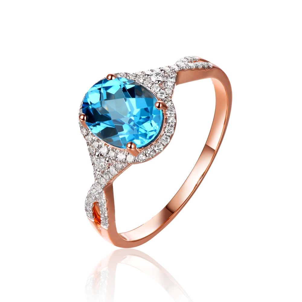 Jóias Caimao 2.01ct Naturais Topázio e 0.28ct Diamantes 14 k Ouro Rosa Anel de Noivado