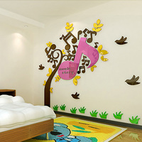 Musical Notes Tree Design Acrylic Wall Stickers Wall Decorations Environmentally Friendly Material
