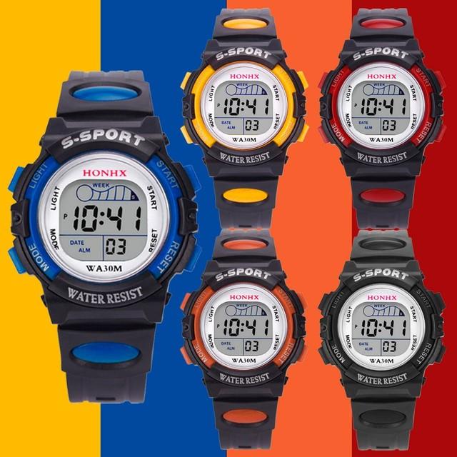 2018 Hot Sale Children Watch Boys Girls LED Digital Sports Watches Silicone Rubber Kids Alarm Date Casual Watch HONHX reloj homb