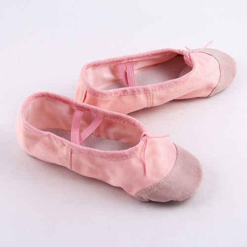 الوردي الجلود الباليه الرقص النعال حذاء للجيم تشايلدز بنين بنات أحجام كامل