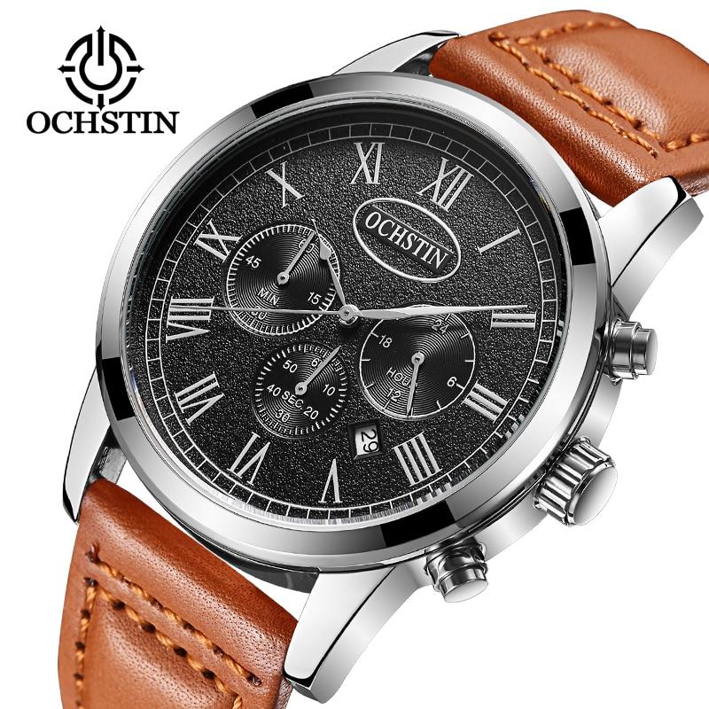 2017 OCHSTIN Merk Analoge Quartz Horloge Mannen Waterdichte Mode Casual Sport Horloges Man Lederen Horloges Relogio Masculino