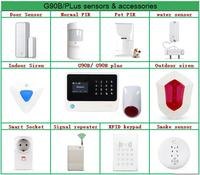 Sensores de alarme sem fio 433 mhz G90B G90B plus  sirene  acessórios repetidor do sinal do sensor de porta sensor de movimento sensor de água|siren 433mhz|siren wireless|repeater 433mhz -