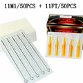 50pcs 11m1 professional Tattoo Needles + 50pcs 11ft disposable sterile Tattoo Tubes Tips mixed 100pcs 11m1+11ft tattoo machine