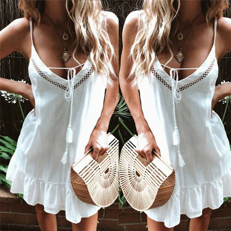 Swimsuit Cover Up Women Holiday Strappy Mini Dresses Ladies Summer Beach Plaid Sun Dress Skrit Top Summer Beach Dress Cover Up