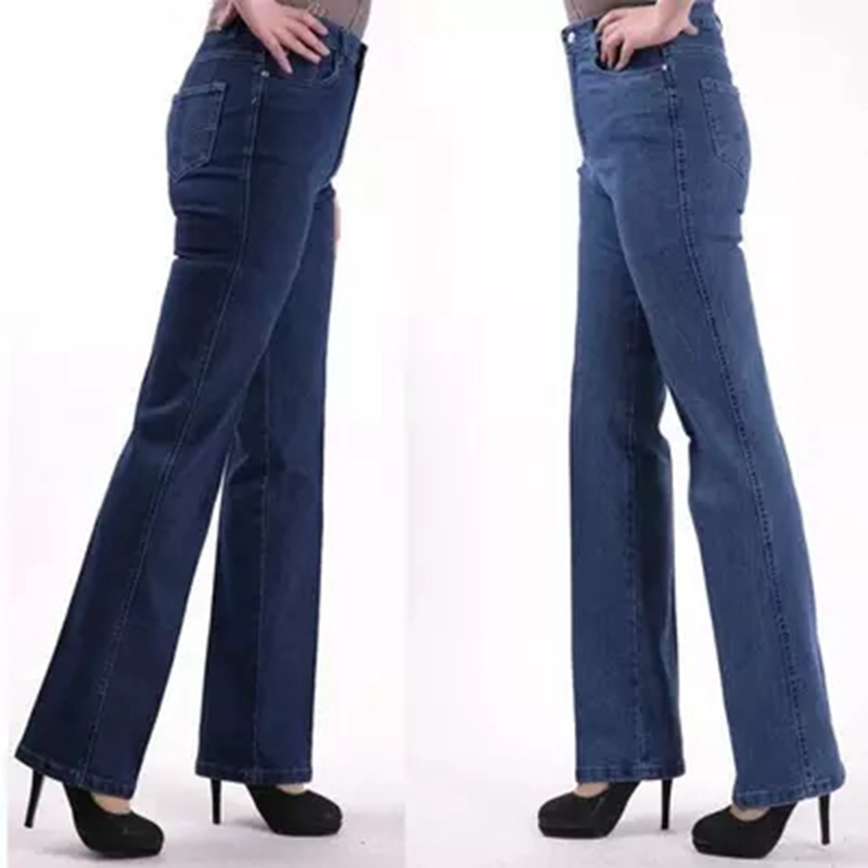 2018 Women   Jeans   High Waist straight elastic Plus Size lady Pants Supersize 42 Mother Trousers