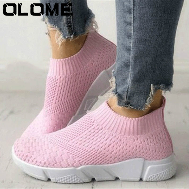 Women Shoes Plus Size Flyknit Sneakers Women New Vulcanized Shoes Casual Female Slip On Flat Shoes White Mesh Walking FootwearWomen Shoes Plus Size Flyknit Sneakers Women New Vulcanized Shoes Casual Female Slip On Flat Shoes White Mesh Walking Footwear