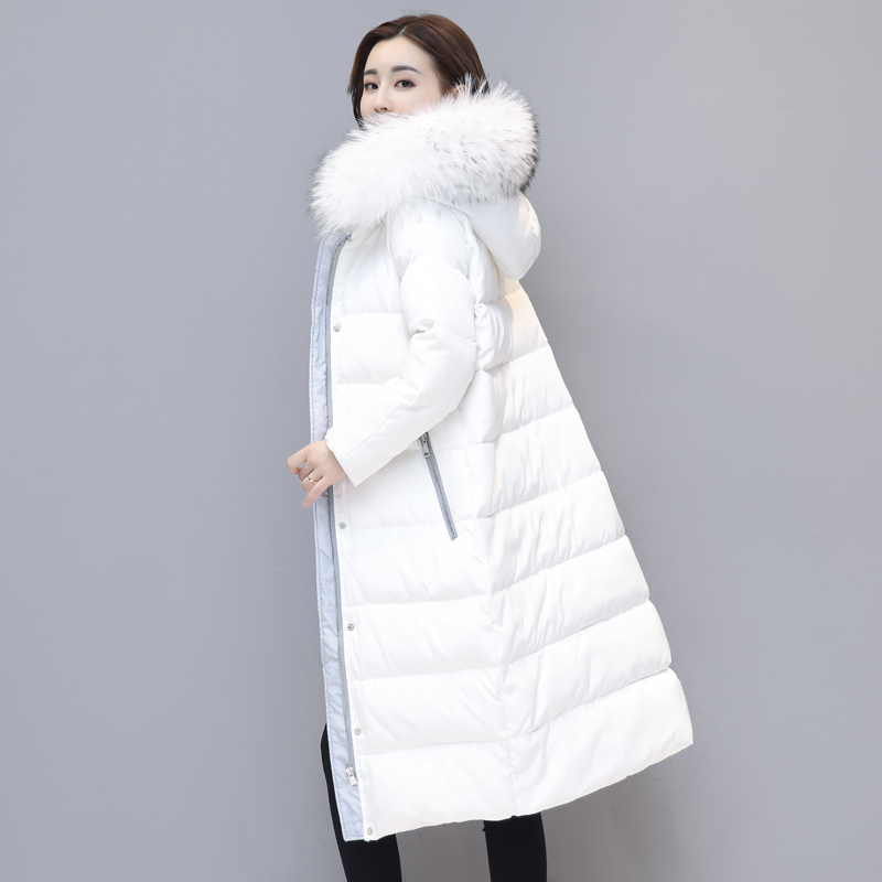 Big Fur Collar Parka Women Winter Jacket Fashion Down Cotton Padded Coat Thick Warm Hooded Long Overcoat Female Outwear QW750 fashion european winter jacket women big fur collar hooded coat female medium long down parka outwear loose overcoat hn156