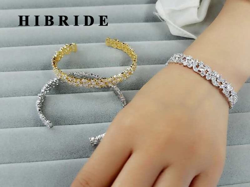 HIBRIDE Fashion Clear Baguette AAA კუბური ცირკონის სამაჯურები ოქროსფერი ფერის რეგულირებადი ტუფი Bangles ქალის საჩუქრები B-82