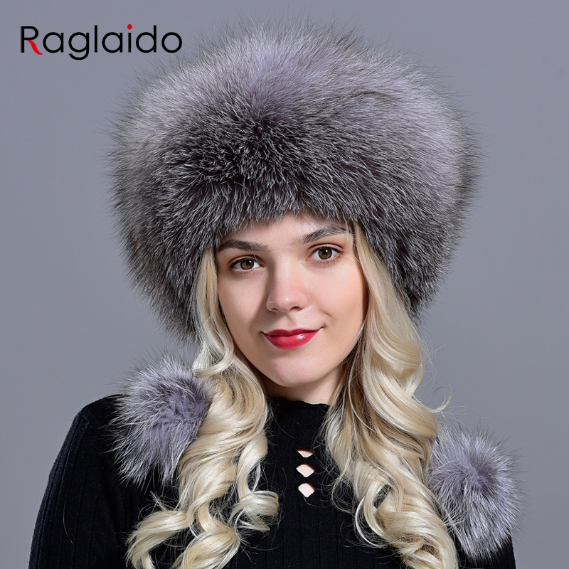 Fox Hats For Women Winter Fashionable Luxury Girls Female Warm Stylish Real Fur Elegant Top Leather Ball Snow Hat