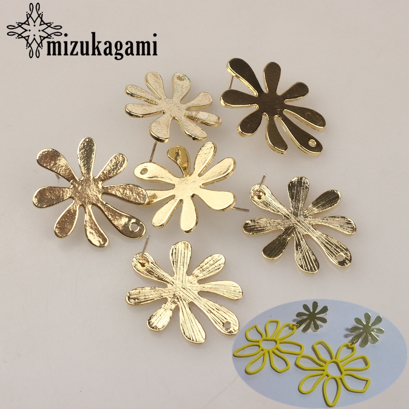 6pcs/lot Zinc Alloy Golden Fashion Flowers Base Earrings Pendant Connector For DIY Exaggerated Earrings Jewelry Accessories