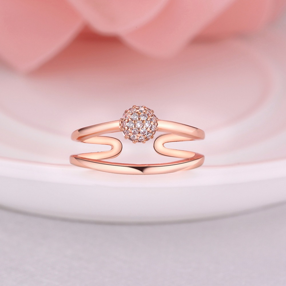 Fashionable new double layer spherical ring size can adjust rose ...