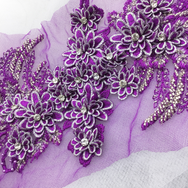 1 Piece Lace Applique Embroidered Lace Appliques 3d Lace Fabric Adhesive Flower Patches For Dress Supply Hair DIY Craft Supplies in Lace from Home Garden