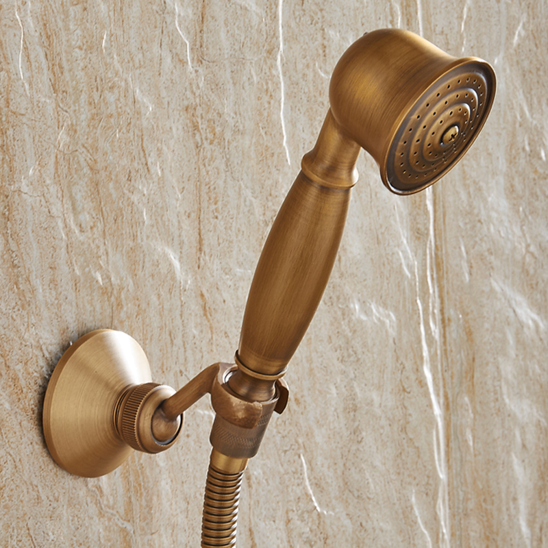 Wall Mounted Antique Brass Shower Set Faucet+Bath Tub Mixer Tap+ ...
