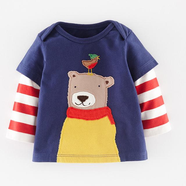 Camiseta Baby Boy Roupa Dos Miúdos Meninos Designer Miúdos Marca 2016 primavera Meninos camisetas Crianças Caráter Roupas De Impressão Crianças T camisa