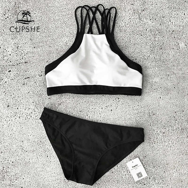 32056993c218f ... CUPSHE Beach Rock Halter Bikini Set Women Black And White Patchwork  Tank Two Pieces Swimwear 2019 ...