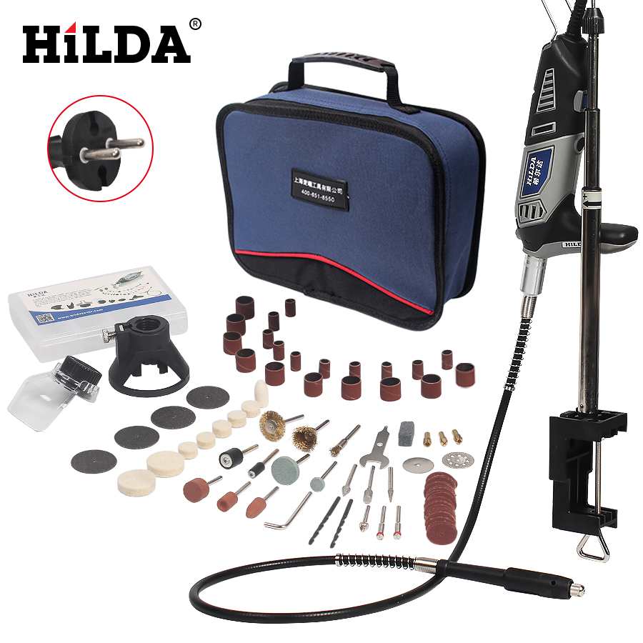 HILDA 220V 180W Dremel style Electric Rotary Power Tool Mini Drill with Flexible Shaft and Holder 94pcs Accessories Set Bag bdcat 180w electric dremel mini drill polishing machine rotary tool with 140pcs power tools accessories and dremel holder