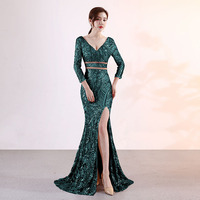 Green Paisley Pattern Deep V Neck Three Quarter Sleeve Luxury Celebrity Party Sequin Dress Women 2018 Sexy Cocktail Club Dresses