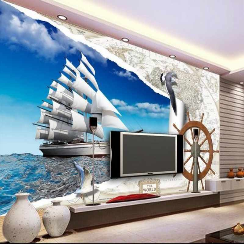 Beibehang  Custom HD Wallpapers White Clouds Sailboat Landscape 3D Living Room Bedroom Wallpapers Home Decor 3D Wall paper