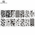 Flower Theme Nail Art Stamp Template Image Plate Rctangular Stamping PLates BORN PRETTY BP-L024 12.5 x 6.5cm