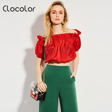 Clocolor Women Blouse Red Slash Neck Falbala 2018 New Sweet short fashion Girls  Style Ruffles Summer female Women Blouse